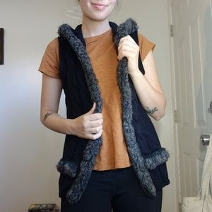 Maurices Fur Hooded Sweater Vest